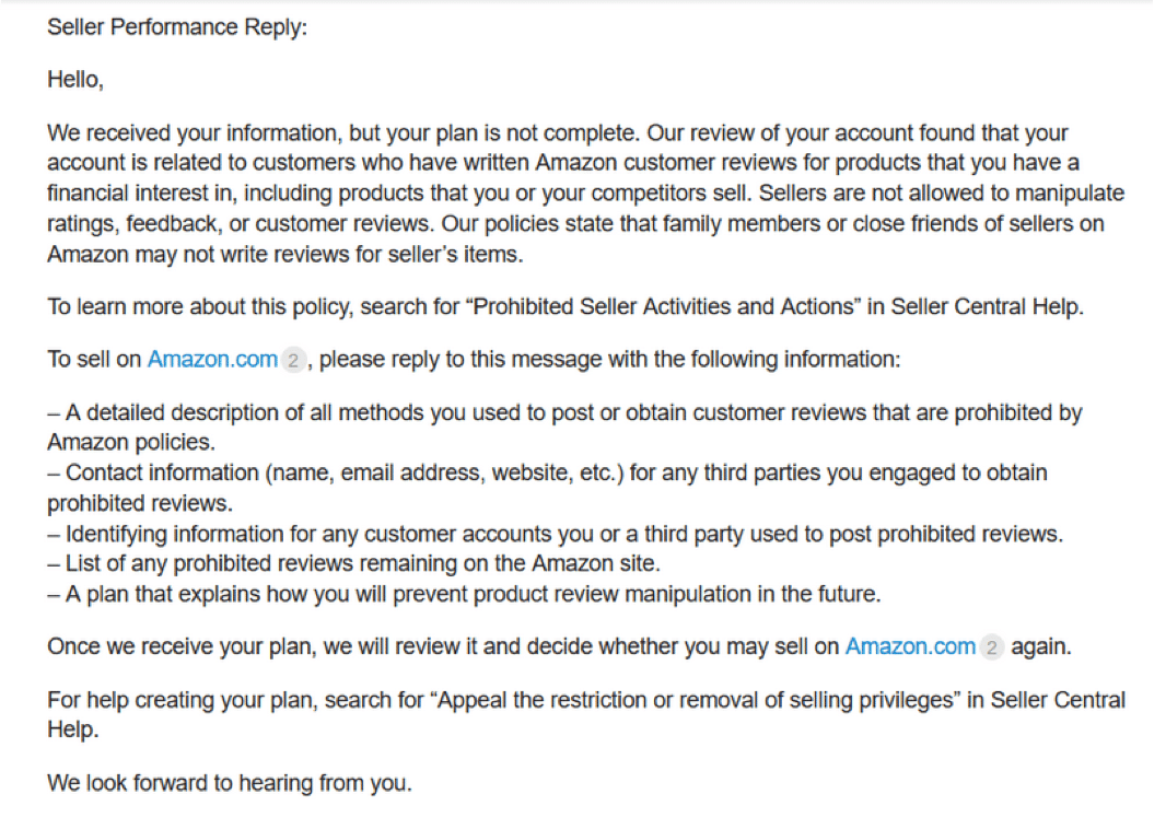 Amazon seller suspension email example